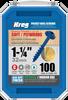 "Kreg Blue-Kote WR Pocket Screws 1-1/4"", #8 Coarse, Washer Head  100 Count (SML-C125B-100)"