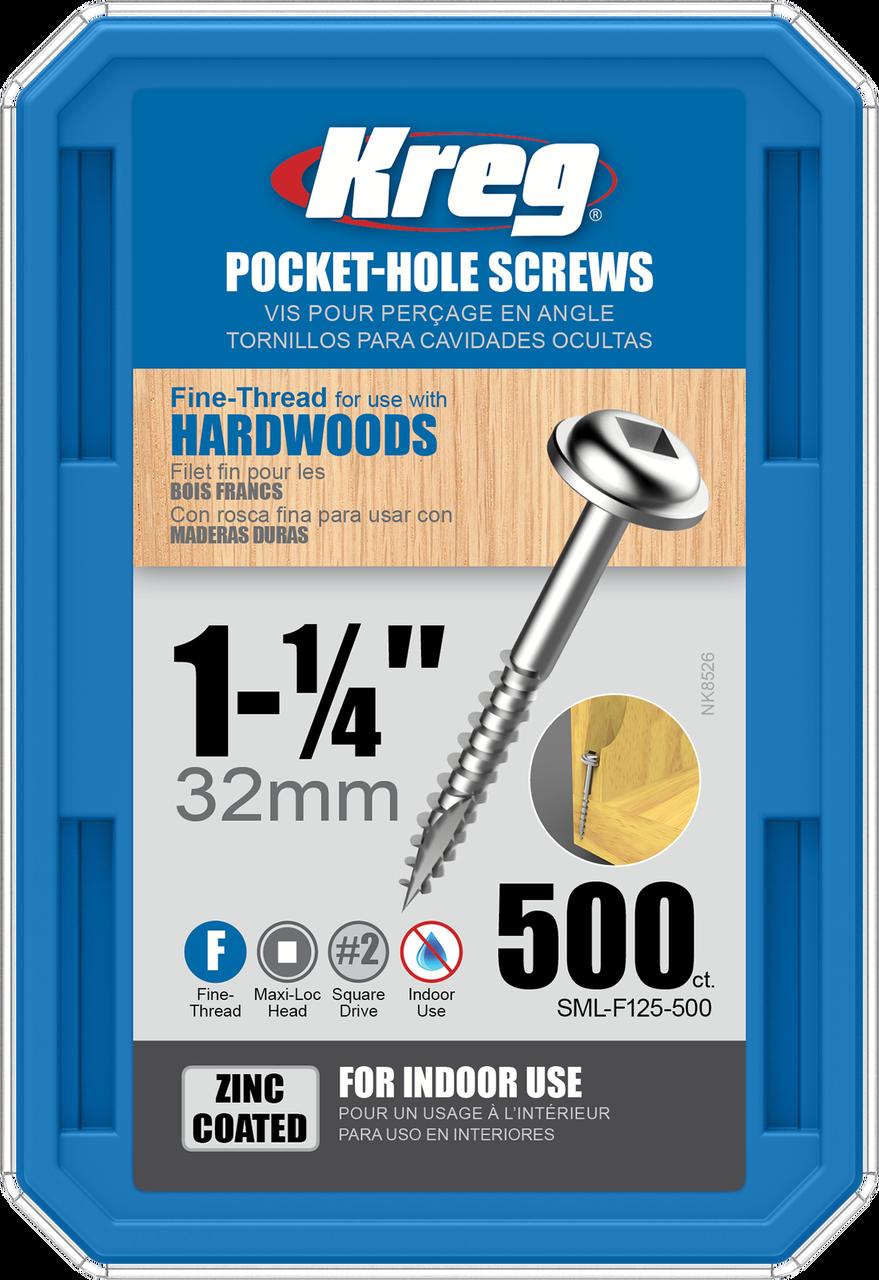 Kreg SML-F125-1200 1-1//4 Washer Head Fine Thread Number 7 Zinc Coated Pocket Hole Screws 1200 Count