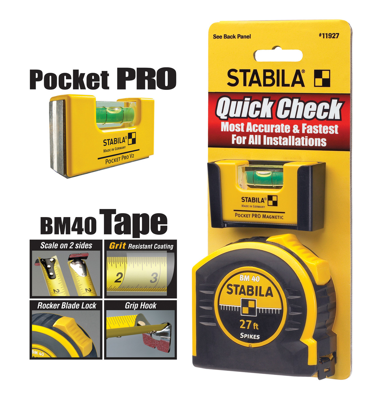 Pocket PRO Plus Level Stabila Quick Check Measuring Tape 27