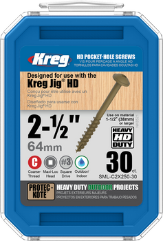 "Kreg HD WR Protec-Kote Pocket Screws - 2-1/2"", #14 Coarse, Washer-Head, 30 Count (SML-C2X250-30)"