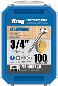 "Kreg Zinc Pocket-Hole Screws 3/4"", #6 Fine, Pan-Head, 100 Count (SPS-F075-100)"