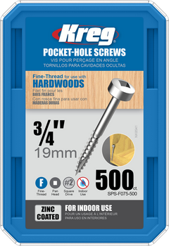 "Kreg Zinc Pocket-Hole Screws 3/4"", #6 Fine, Pan-Head, 500 Count (SPS-F075-500)"