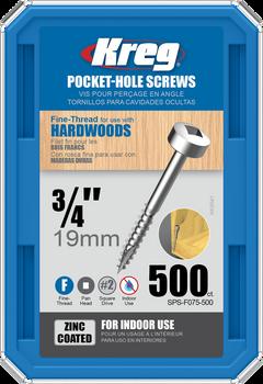 "Kreg Zinc Pocket-Hole Screws 3/4"", #6 Fine, Pan-Head, 500 Count (SPS-F075-500)"