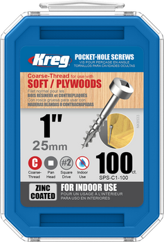 "Kreg Zinc Pocket-Hole Screws 1"", #7 Coarse, Pan-Head, 100 Count (SPS-C1-100)"