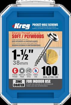 "Kreg Zinc Pocket-Hole Screws 1-1/2"", #8 Coarse, Washer-Head, 100 Count (SML-C150-100)"