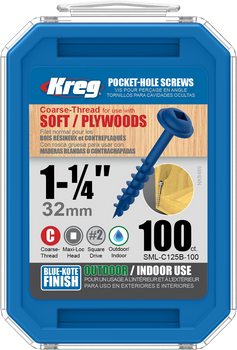 "Kreg Blue-Kote WR Pocket Screws 1-1/4"", #8 Coarse, Washer Head  100 Count (SML-C125B-100)"