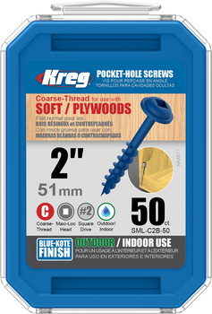 "Kreg Blue-Kote WR Pocket Screws 2"", #8 Coarse, Washer Head 50 Count (SML-C2B-50)"