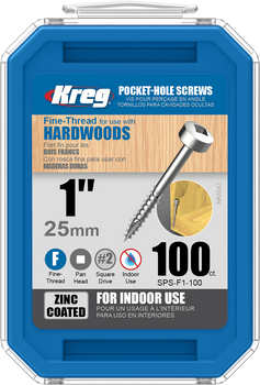 "Kreg Zinc Pocket-Hole Screws 1"", #6 Fine, Pan-Head, 100 Count (SPS-F1-100)"