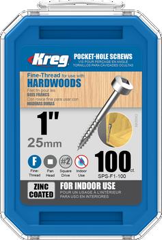 "Kreg Zinc Pocket-Hole Screws 1"", #6 Fine, Pan-Head, 100 Count (SPS-F1-100)"