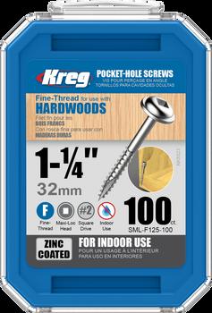 "Kreg Zinc Pocket-Hole Screws 1-1/4"", #7 Fine, Washer-Head, 100 Count (SML-F125-100)"