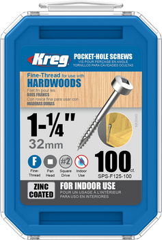 "Kreg Zinc Pocket-Hole Screws 1-1/4"", #6 Fine, Pan-Head, 100 Count (SPS-F125-100)"