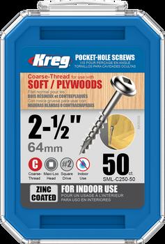 "Kreg Zinc Pocket-Hole Screws 2-1/2"", #8 Coarse, Washer Head, 50 Count (SML-C250-50)"