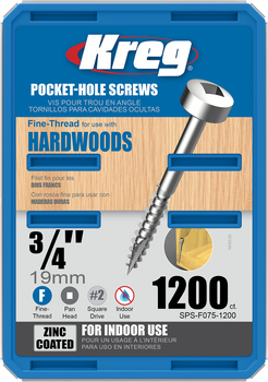 "Kreg Zinc Pocket-Hole Screws 3/4"", #6 Fine, Pan-Head, 1200 Count (SPS-F075-1200)"