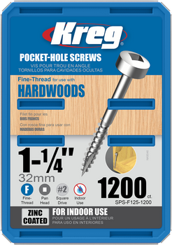 "Kreg Zinc Pocket-Hole Screws 1-1/4"", #6 Fine, Pan-Head, 1200 Count (SPS-F125-1200)"