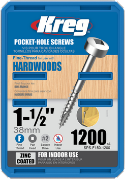 "Kreg Zinc Pocket-Hole Screws 1-1/2"", #6 Fine, Pan-Head, 1200 Count (SPS-F150-1200)"