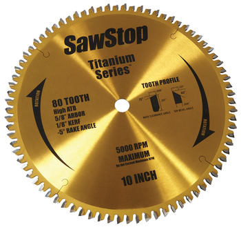 Titanium Series Premium Woodworking Blade - 80 Tooth