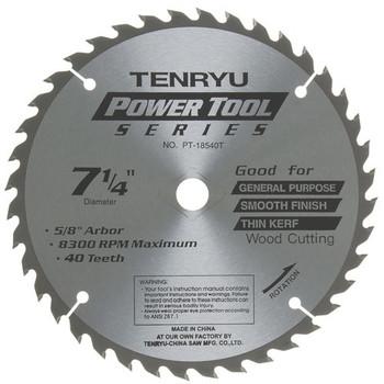 "Tenryu Blade - 7-1/4"" 40 Tooth 5/8""KO Arbor 8300 RPM (PT-18540-T)"
