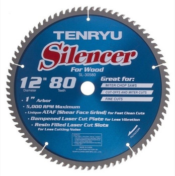 "Tenryu Blade - 12"" 80 Tooth 1"" Arbor 5000 RPM (SL-30580)"