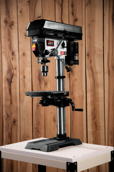 """Jet 12"""" Drill Press with DRO on a work site"""