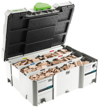 Festool Domino DF 500 Q SET (574432) With Assortment of Domino 500 - 5 Cutters, 1060 Domino Tenons (498899)