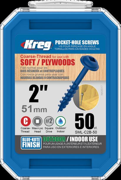 "Kreg Blue-Kote WR Pocket Screws 2"", #8 Coarse, Washer Head 50 Count (SML-C2B-50)"
