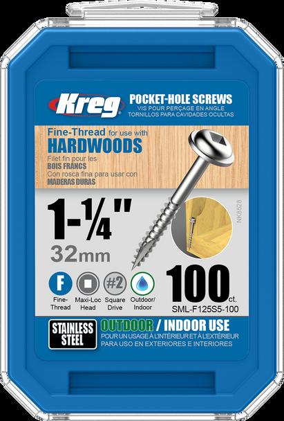 "Kreg Stainless Steel Pocket-Hole Screws 1-1/4"", #7 Fine, Washer-Head, 100 Count (SML-F125S5-100)"