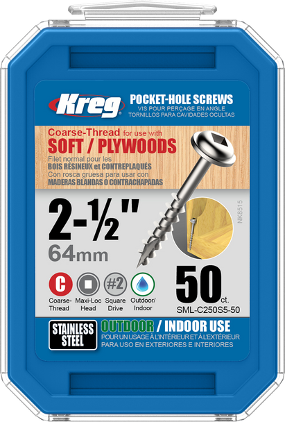 """Kreg Stainless Steel Pocket-Hole Screws 2-1/2"""", #10 Coarse, Washer-Head, 50 Count (SML-C250S5-50)"""