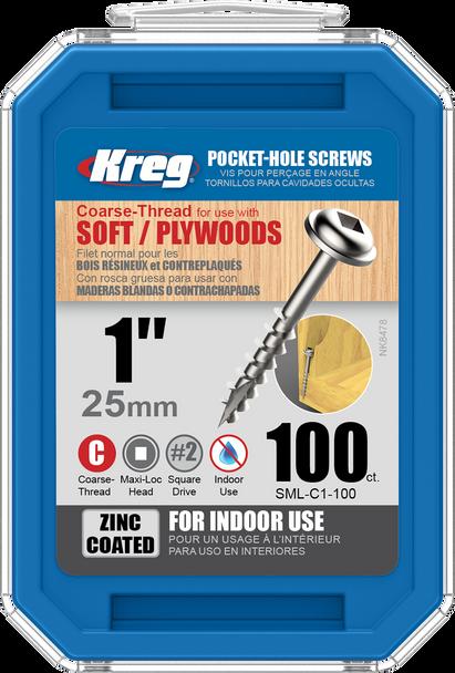 "Kreg Zinc Pocket-Hole Screws  1"", #8 Coarse, Washer-Head, 100 Count (SML-C1-100)"