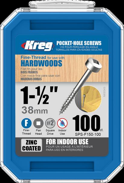 "Kreg Zinc Pocket-Hole Screws 1-1/2"", #6 Fine, Pan-Head, 100 Count (SPS-F150-100)"