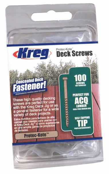 "Kreg Protec-Kote Deck Screws 2"", #8 Coarse, Pan Head, 100 Count (SDK-C2W-100)"