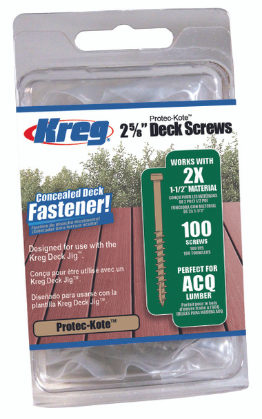 "Kreg Protec-Kote Deck Screws 2-5/8"", #8 Coarse, Pan Head, 100 Count (SDK-C262W-100)"