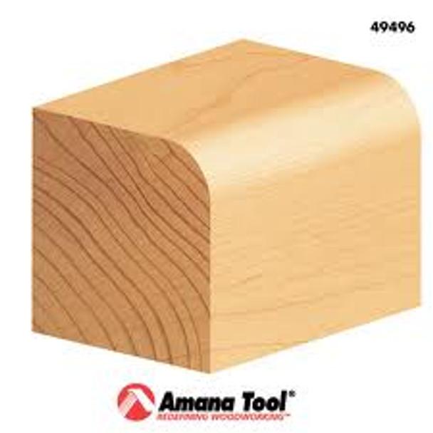 "Amana Corner Round Bit, 2 Flute, 1/4"" Rad, 1"" Dia, 1/4"" Shank, 2"" Length (49504)"