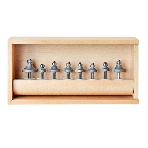 Amana Router Bits 8-pc Corner Round & Beading 1/4 Inch Shank Router Bit Collection (AMS-550)