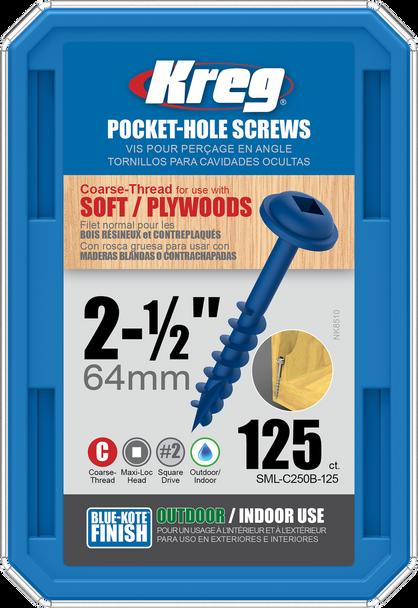 "Kreg Blue-Kote WR Pocket Screws 2-1/2"", #8 Coarse, Washer Head 125 Count (SML-C250B-125)"