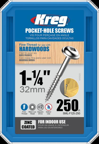 "Kreg Zinc Pocket-Hole Screws 1-1/4"", #7 Fine, Washer-Head, 250 Count (SML-F125-250)"