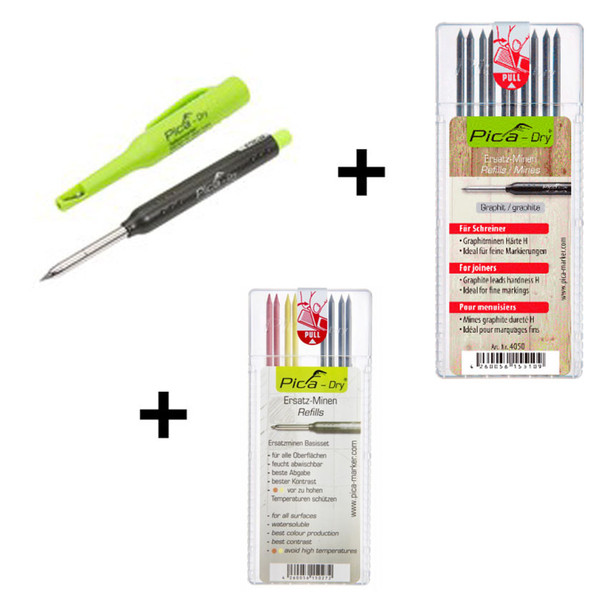 """Pica Dry Pencil 3030 plus Refill - BASIC 4020 + Refill - """"H"""" Hardness 4050 Trilogy Pack (5003)"""