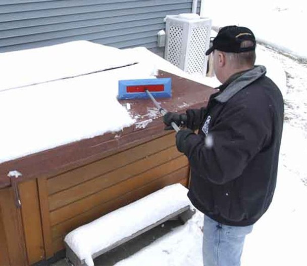 SnoBrum - removing snow from hot tub