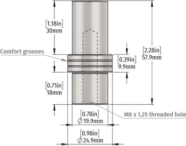 TSO DoubleGroove™ 20mm Bench Dogs - Stubby Pair - breakdown