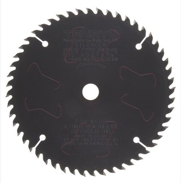 "Tenryu Blade - 6-1/2""  52 Tooth 5/8""KO Arbor 9250 RPM (SL-16552C)"