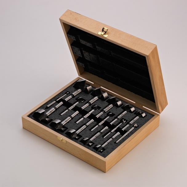 16 pc Wood Box Metric Forstner Bit Set