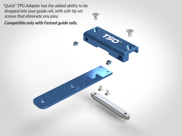 Quick Guide Rail Adapter for TPG Parallel Guide System deconstructed to show parts