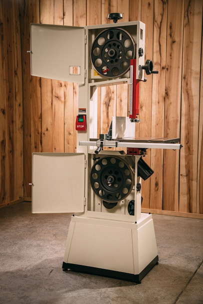"""Jet JWBS-14SFX, 14"""" Bandsaw, 1-3/4HP, 115/230V on a work site with the doors open"""