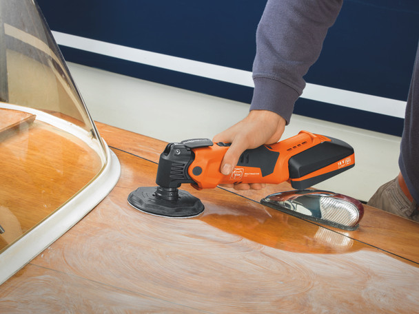 Fein Cordless MultiMaster AMM 500 Plus Top cleaning the top of a boat