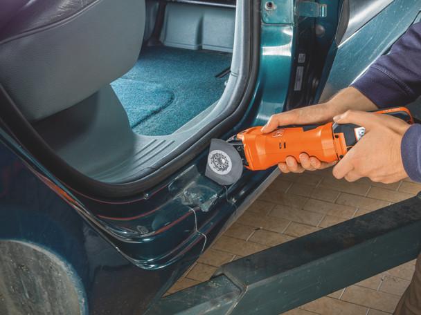 Fein Cordless MultiMaster AMM 500 Plus Top cutting through metal car door frame