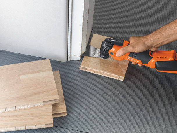 Fein Cordless MultiMaster AMM 500 Plus Top removing bottom section of doors for a floor board