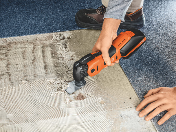 Fein cordless multimaster AMM 700 max top removing adhesive from a under carpeted floor