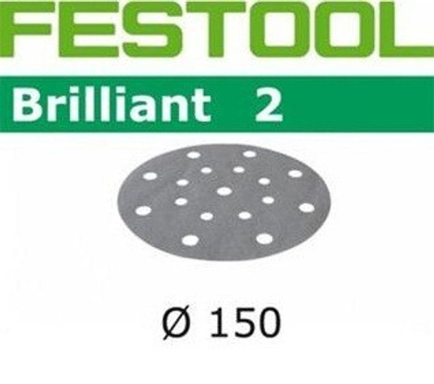 Festool Brilliant 2   150 Round   60 Grit   Pack of 10 (496580)