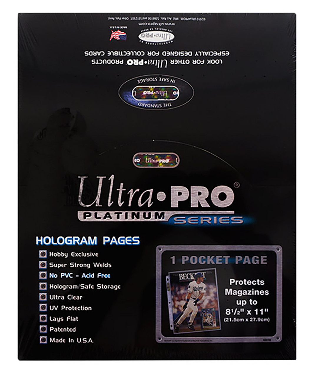 Ultra Pro 1-Pocket Platinum Magazine / Document Pages 8-1/2 x 11 - 100ct Box