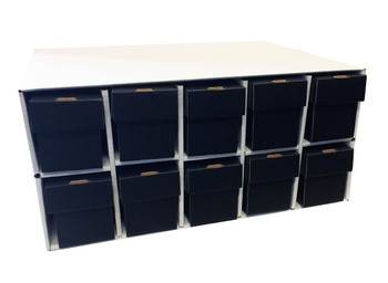 Card Penthouse House Storage Box - with 10 800-Count Black Vertical Storage Boxes
