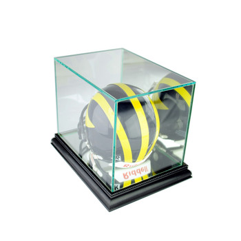 Glass Mini Football Helmet Display Case with Mirror Back - Black